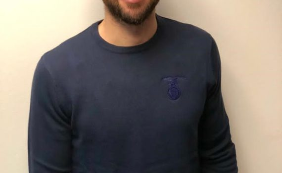 Navy Crew Neck Jumper with Tonal Crest